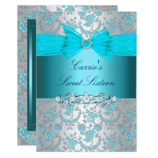 Blue Rose Bow Sweet Sixteen Invite