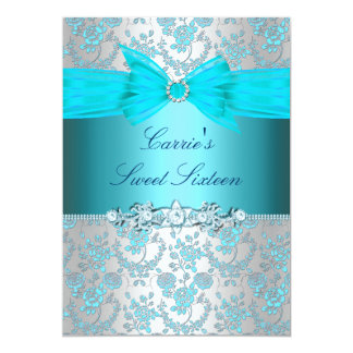 Blue Rose & Bow Sweet Sixteen Invite