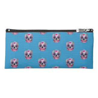 Blue Rose Candy Skull Patterned Pencil Case