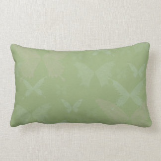 Blue Rose Colored Butterflies on Sage Green Lumbar Pillow