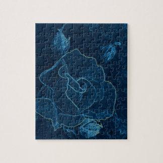 blue rose contour jigsaw puzzle