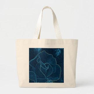 blue rose contour large tote bag
