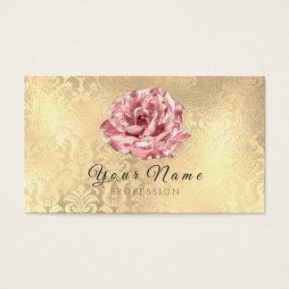 Blue Rose Flower Damask Blogger Stylist Gold Event Business Card