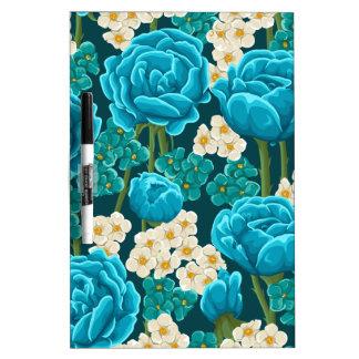 Blue rose flower retro vintage illustrated pattern dry erase board