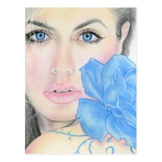 Blue Rose Girl Illumination Postcard