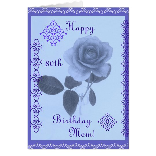 Blue rose: Happy Birthday Mom! Card