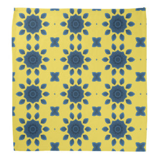 Blue Rose Kaleidoscope Pattern Yellow Bandanas