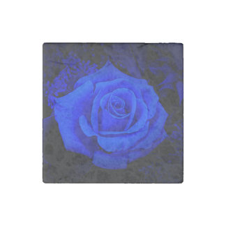 Blue Rose Marble Stone Magnet by Julie Everhart