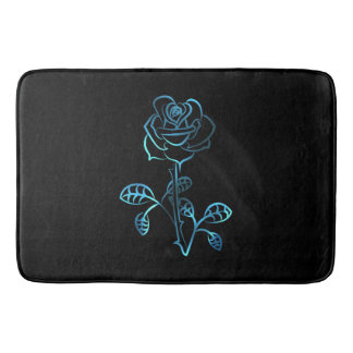 Blue Rose On Black Bath Mat