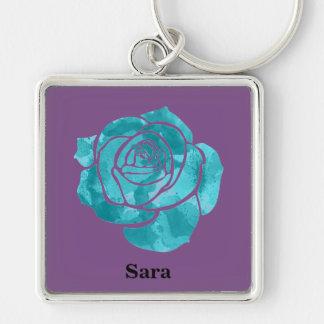 Blue Rose on Purple Keychain