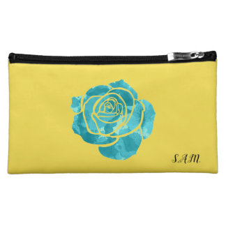 Blue Rose on Yellow Cosmetic Bag