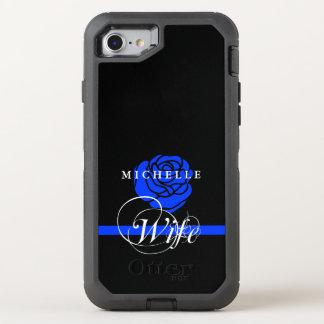 Blue Rose Police Wife Custom OtterBox Defender iPhone 8/7 Case