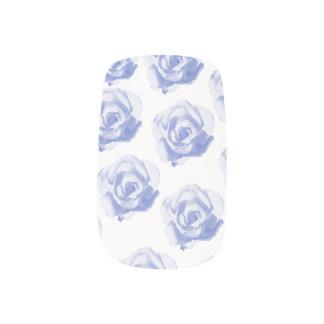 blue rose print nail art decals