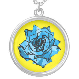 Blue rose silver plated necklace