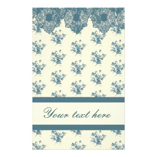Blue Rose Toile & Lace Stationery