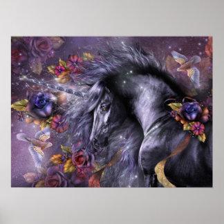 Blue Rose Unicorn Art Poster