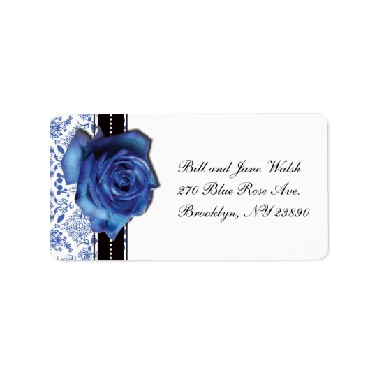 Blue Rose Wedding Address Label
