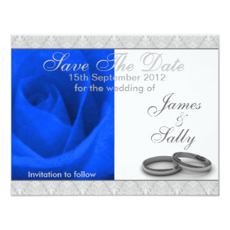 "Blue Rose & Wedding Rings Save The Date Card 4.25"" X 5.5"" Invitation Card"