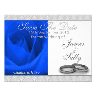 Blue Rose Wedding Rings Save The Date Card Invitation