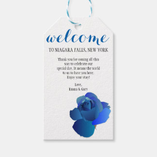 Blue Rose Welcome Wedding Gift Tag