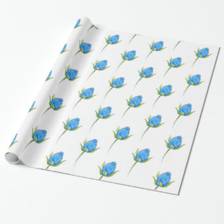 Blue Rosebud Pattern Wrapping Paper