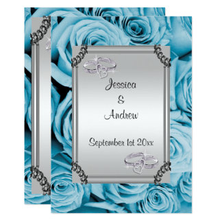 Blue Roses & Diamond Wedding Rings Card