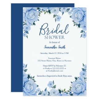 Blue Roses floral bridal shower Card