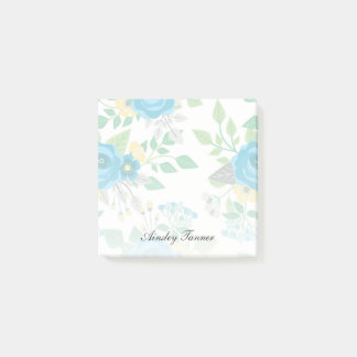 Blue Roses & Forget-Me-Nots Custom Name Post-it® Notes