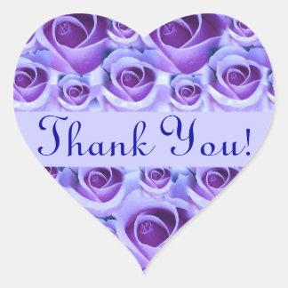 Blue Roses Heart Thank You Wedding Sticker