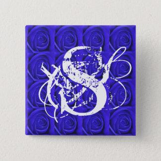 Blue Roses Monogram Letter S Button
