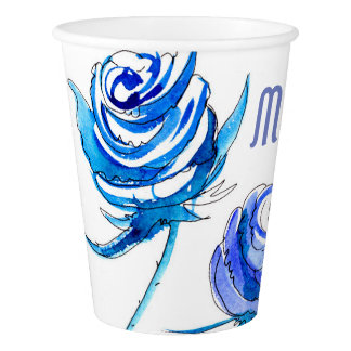 Blue roses paper cup