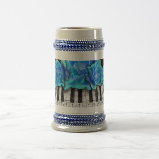 Blue Roses Piano Keyboard and Music Notes Beer Stein