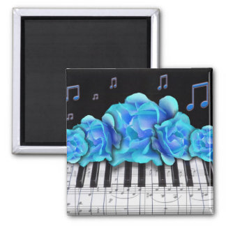 Blue Roses Piano Keyboard and Music Notes Square Magnet