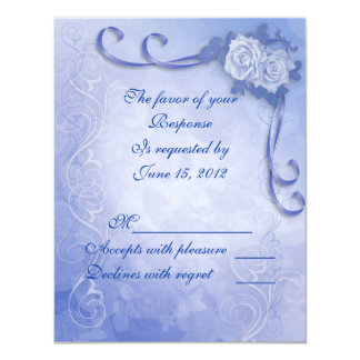 """Blue roses response card with meal choices RSVP 4.25"""" X 5.5"""" Invitation Card"""