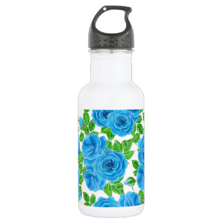 Blue roses watercolor seamless pattern 532 ml water bottle