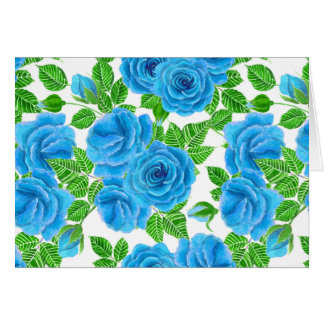 Blue roses watercolor seamless pattern card