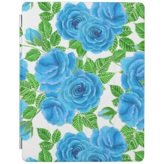 Blue roses watercolor seamless pattern iPad cover