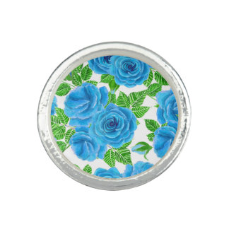 Blue roses watercolor seamless pattern ring