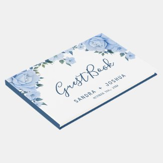 Blue Roses Wedding Guest Book