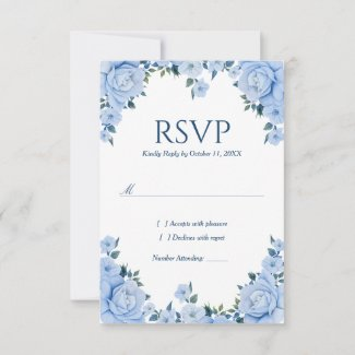 Blue Roses Wedding RSVP card
