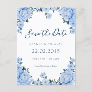 Blue Roses Wedding Save the date Announcement Postcard
