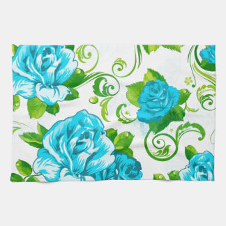 Blue Roses White Background Towels