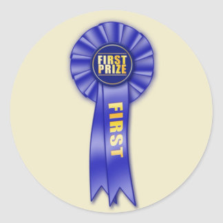 blue rosette first prize sticker