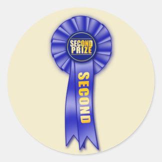 blue rosette second prize sticker