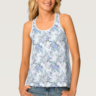 Blue Rosy Flower Pattern All-Over Print Tank Top