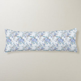 Blue Rosy Flower Pattern Body Pillow