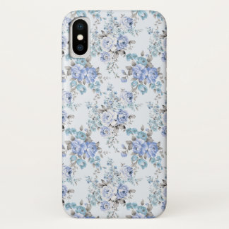 Blue Rosy Flower Pattern iPhone X Case