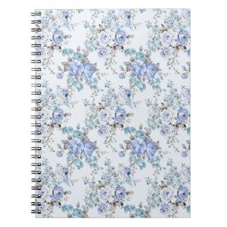 Blue Rosy Flower Pattern Notebook