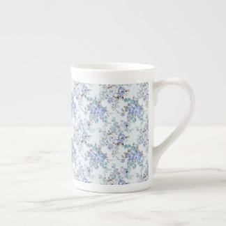 Blue Rosy Flower Pattern Tea Cup