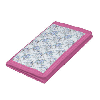 Blue Rosy Flower Pattern TriFold Nylon Wallet